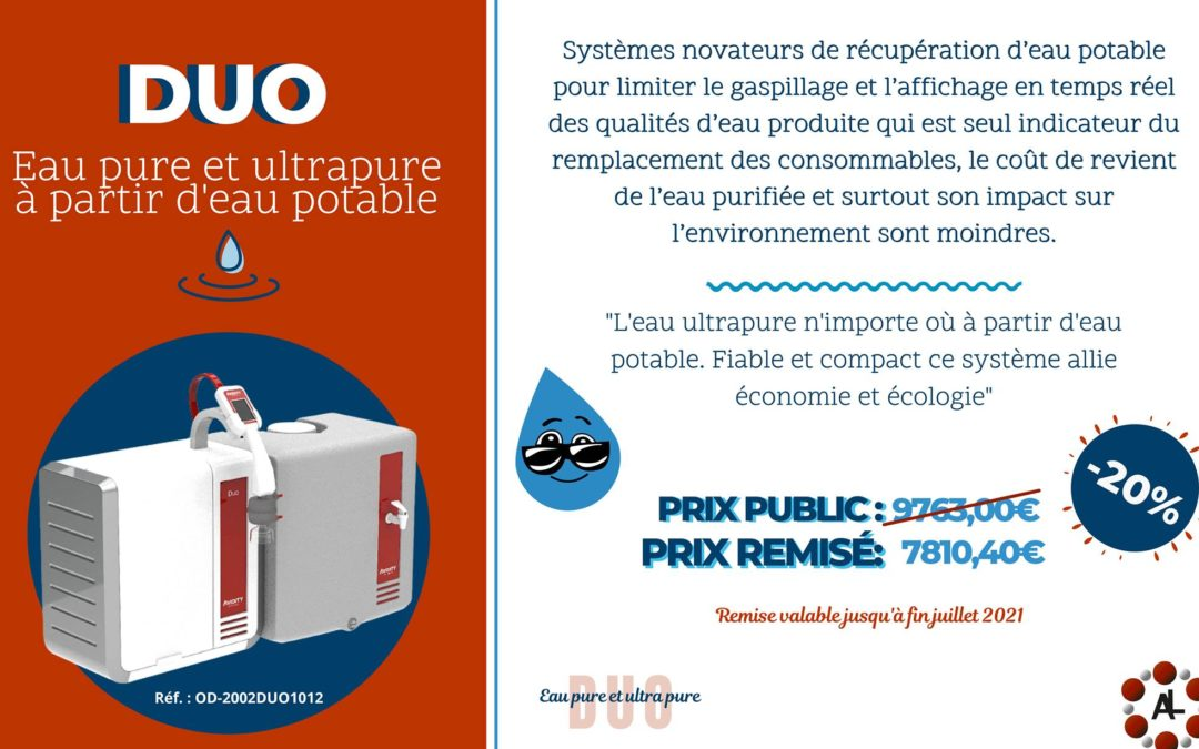 DUO : Système de production d'eau pure et ultra pure