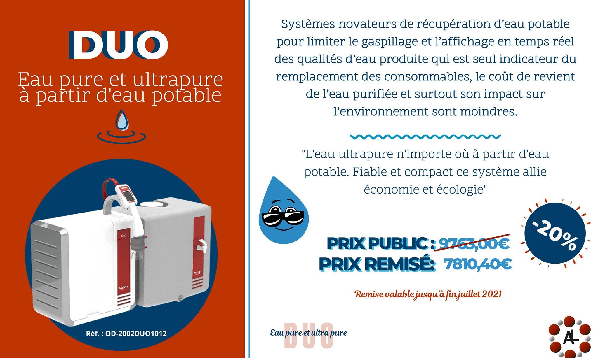 DUO le système de production d'eau pure et ultra pure